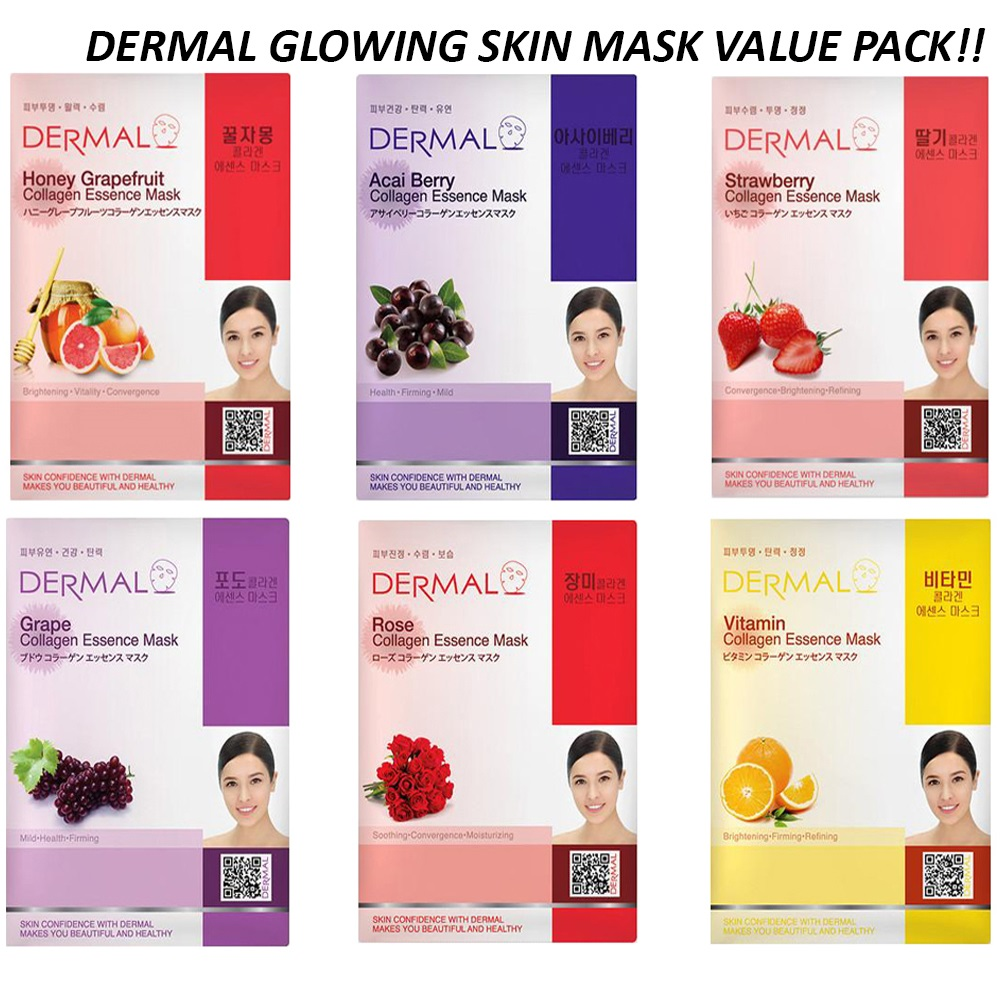 Dermal Korea Bright Glowing Skin Fruit Face Sheet Mask 6 Pcs Combo Pack Dermal Face Mask Dermal Sheet Mask Dermal Dermal Korea Yeppen Skin Dermal Shop